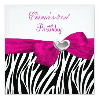 第21誕生会の銀のピンクの黒のヒョウ5 カード