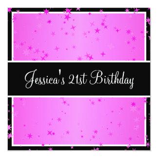 第21誕生会キャンデーのピンクは黒及び白を主演します カード