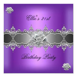 第21誕生日のエレガントな紫色の銀製の花の宝石 13.3 スクエアインビテーションカード