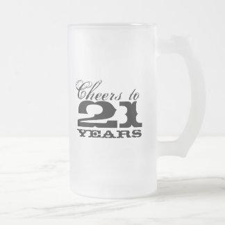 第21誕生日のビールのジョッキ男性への|の応援から21年 フロストグラスビールジョッキ