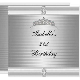 第21誕生日の宝石のティアラの銀及び白 カード