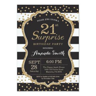 第21誕生日の招待状を驚かして下さい。 金ゴールドのグリッター カード