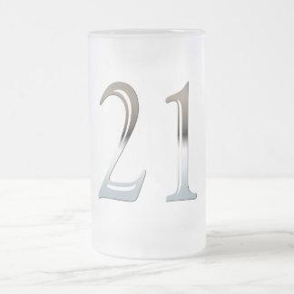 第21誕生日の銀製の第21 フロストグラスビールジョッキ