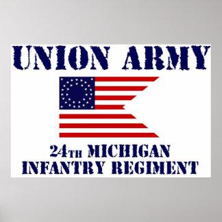 第24ミシガン州の歩兵連隊、内戦ポスター ポスター