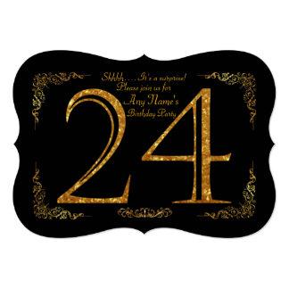 第24、誕生会第24、素晴らしいのGatsby、黒及び金ゴールド 12.7 X 17.8 インビテーションカード