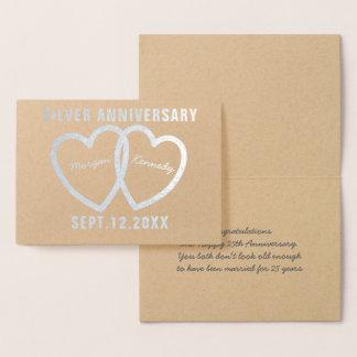 第25結婚記念日のハートの銀ぱくカード 箔カード