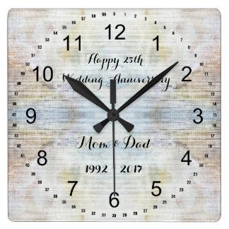 第25結婚記念日の大理石パターン スクエア壁時計