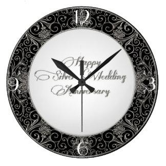 第25結婚記念日の時計 ラージ壁時計