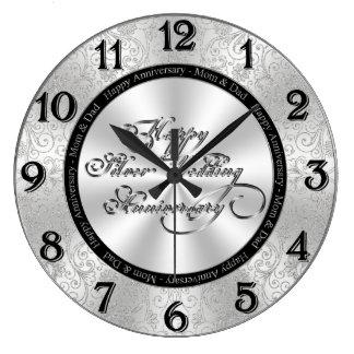 第25結婚記念日の柱時計 ラージ壁時計