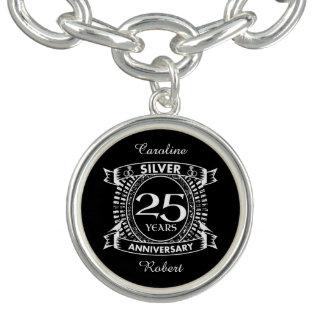 第25結婚記念日の銀の頂上 チャームブレスレット