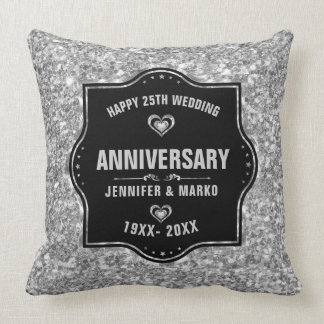 第25結婚記念日の黒および銀のグリッター クッション