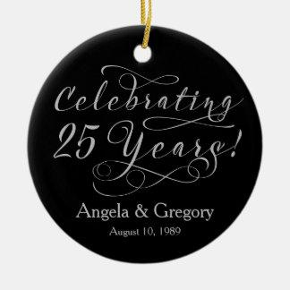 第25結婚記念日25の銀製の黒 セラミックオーナメント