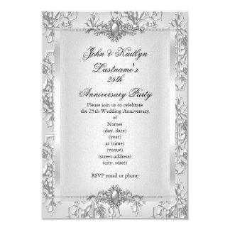 第25記念パーティーのダマスク織の銀の白 8.9 X 12.7 インビテーションカード