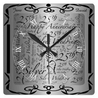 第25記念日の単語の芸術のグラフィック スクエア壁時計