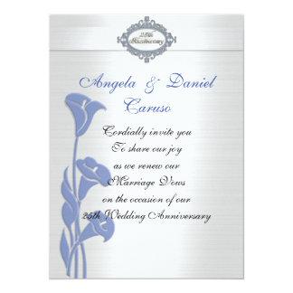 第25記念日の招待状の青いオランダカイウユリ 14 X 19.1 インビテーションカード