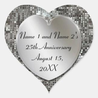 第25記念日の銀製のスパンコールのハートのステッカー ハートシール