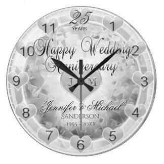 第25銀製の結婚記念日のハート ラージ壁時計