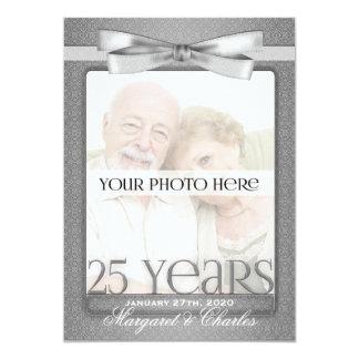 第25銀製の結婚記念日の写真の招待状 カード