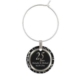 第25銀製の結婚記念日|のキリンパターン ワインチャーム