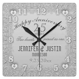 第25銀製の結婚記念日 スクエア壁時計