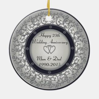 第25銀製の結婚記念日 セラミックオーナメント