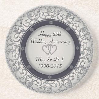 第25銀製の結婚記念日 ドリンクコースター
