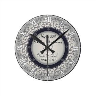 第25銀製の結婚記念日 ラウンド壁時計