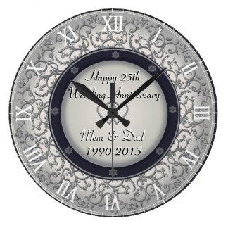 第25銀製の結婚記念日 ラージ壁時計