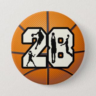 第28バスケットボール 7.6CM 丸型バッジ