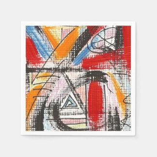 第3目手の色彩の鮮やかな抽象美術 スタンダードカクテルナプキン