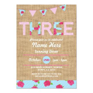第3誕生日のお茶会3の3バーラップのバラの招待 カード