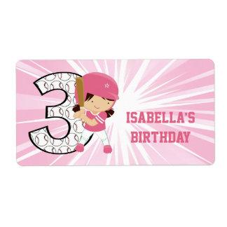 第3誕生日のソフトボールのねり粉のピンクおよび白 ラベル