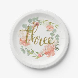 第3誕生日のピンクの金ゴールドの花のリースの紙皿 ペーパープレート
