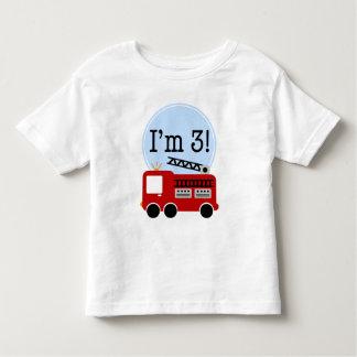 第3誕生日の普通消防車 トドラーTシャツ