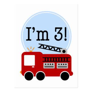 第3誕生日の普通消防車 葉書き
