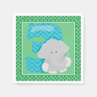 第3誕生日|のサファリ|のベビー象 スタンダードカクテルナプキン