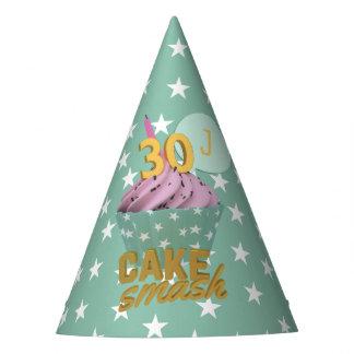 第30お誕生日ケーキの粉砕の名前入りなパーティの帽子 パーティーハット