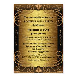 第30の誕生会、女性、Gatsbyのスタイル、アールデコ 12.7 X 17.8 インビテーションカード