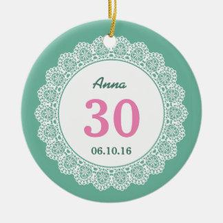 第30レースA05との誕生日の想い出の品の緑そしてピンク セラミックオーナメント