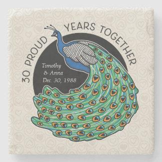 第30結婚記念日、孔雀およびハート ストーンコースター