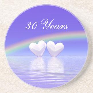 第30記念日の真珠のハート コースター
