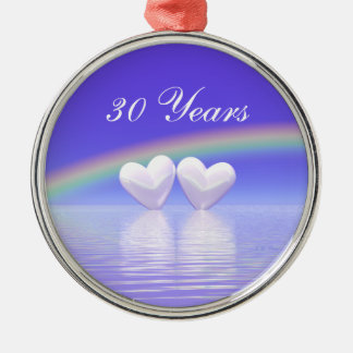 第30記念日の真珠のハート メタルオーナメント