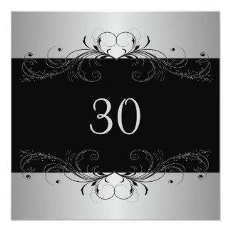 第30誕生会の銀の黒の花柄 カード