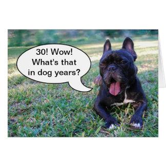 第30誕生日犬年のフレンチ・ブルドッグカード カード
