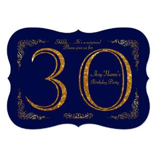 第30、誕生会第30、素晴らしいのGatsby、海軍及び金ゴールド 12.7 X 17.8 インビテーションカード