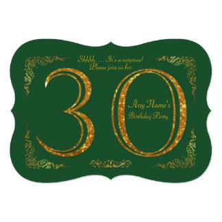 第30、誕生会第30、素晴らしいのGatsby、緑及び金ゴールド 12.7 X 17.8 インビテーションカード