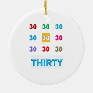 第30 30個の第30誕生日記念日のギフトUNIQU セラミックオーナメント