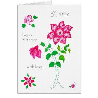 第31バースデー・カード-ピンクの花 カード