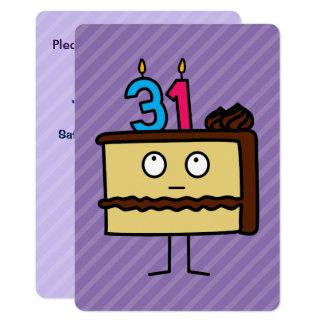 第31蝋燭が付いているお誕生日ケーキ カード