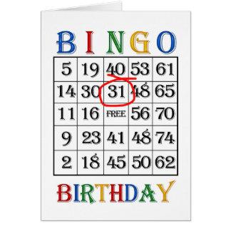第31誕生日のビンゴカード カード